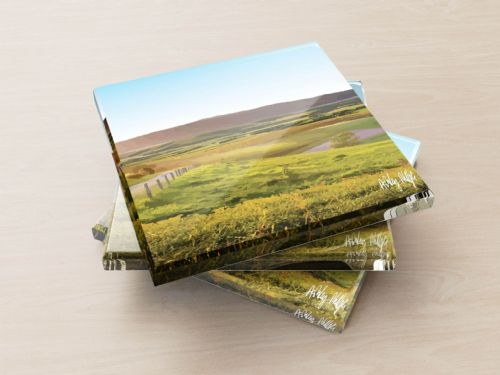 Rolling Hills Blue - Glass Coasters